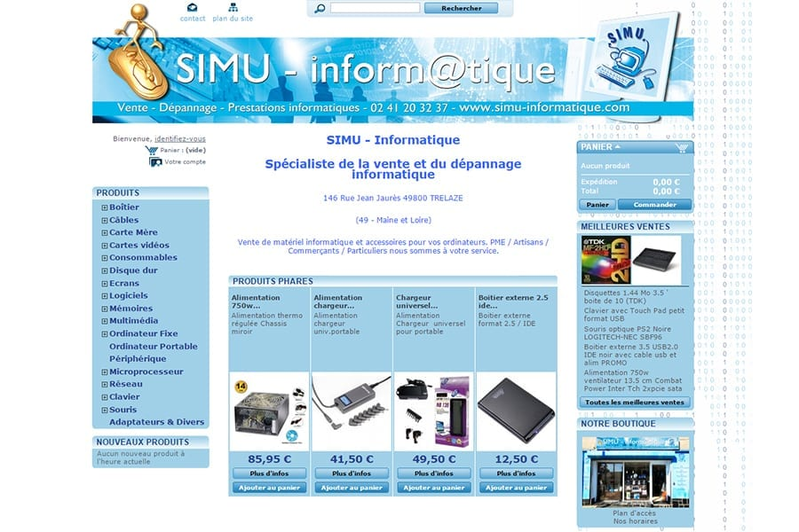 site-simu-informatique ecommerce